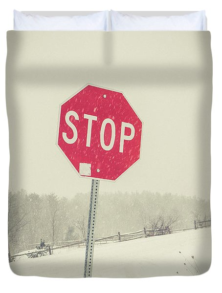 Duvet Cover featuring the photograph Stop by Edward Fielding