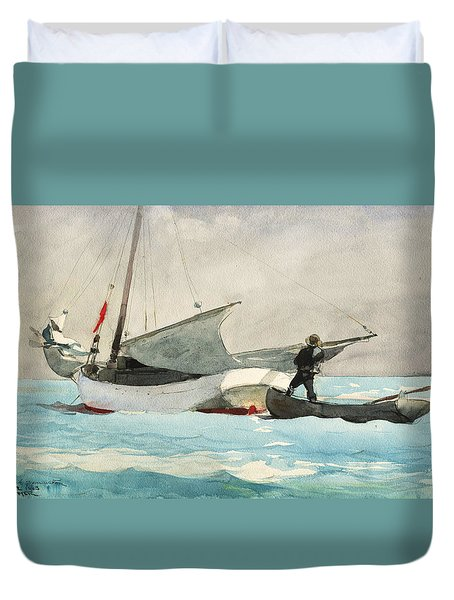 Stowing Sail Duvet Cover by Winslow Homer