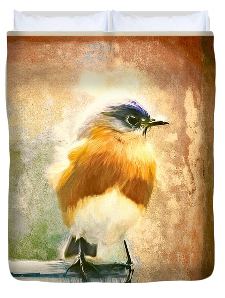 Strapping Bluebird Duvet Cover by Tina LeCour