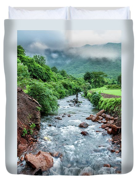 Duvet Cover featuring the photograph Stream by Charuhas Images