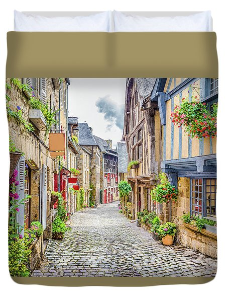 Streets Of Dinan Duvet Cover by JR Photography