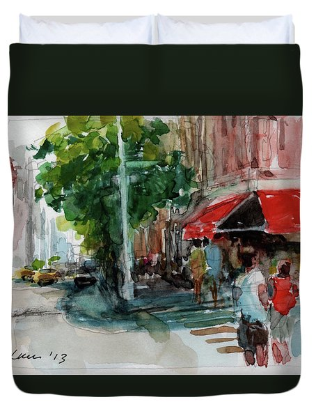 Streetscape With Red Awning - 82nd Street Market Duvet Cover by Peter Salwen