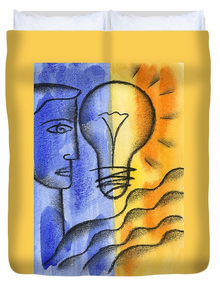 Duvet Cover featuring the painting Success by Leon Zernitsky