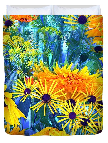 Duvet Cover featuring the photograph Summer Bouquet by Byron Varvarigos