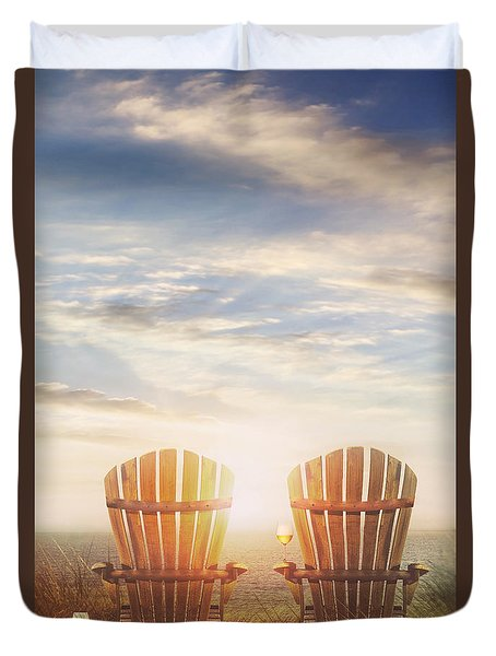 Summer Chairs Sand Dunes And Ocean In Background Duvet Cover by Sandra Cunningham