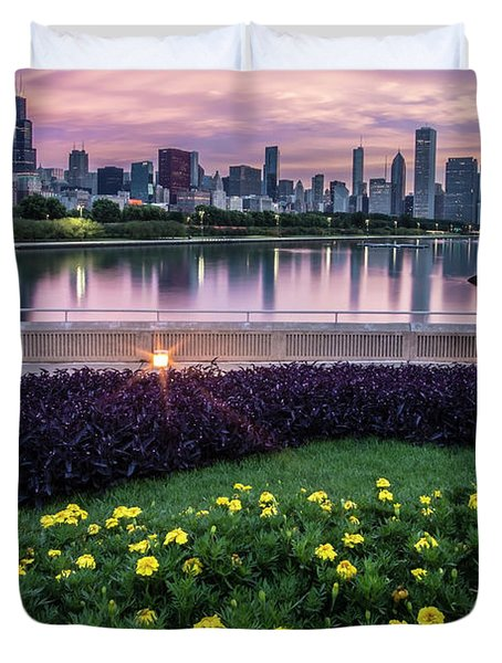 summer flowers and Chicago skyline Duvet Cover