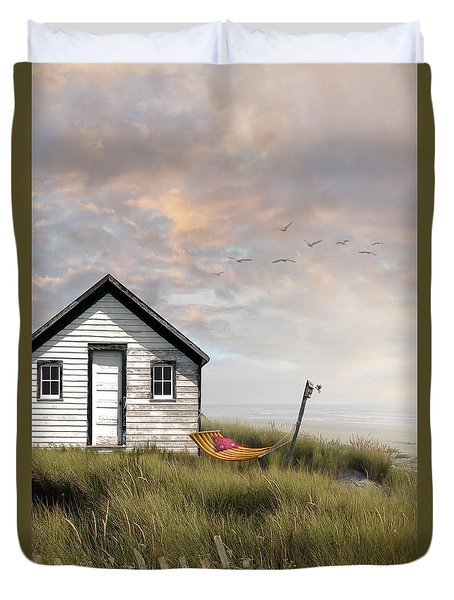 Summer Shack With Hammock By The Ocean Duvet Cover