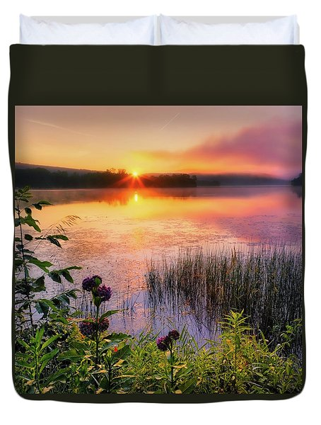 Duvet Cover featuring the photograph Summer Sunrise Square by Bill Wakeley