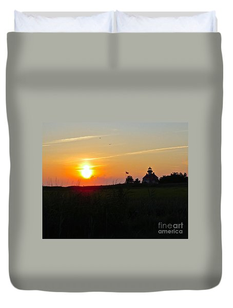 Summer Sunset At East Point Light Duvet Cover by Nancy Patterson