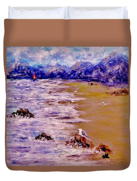 Duvet Cover featuring the painting Summer Whispers.. by Cristina Mihailescu