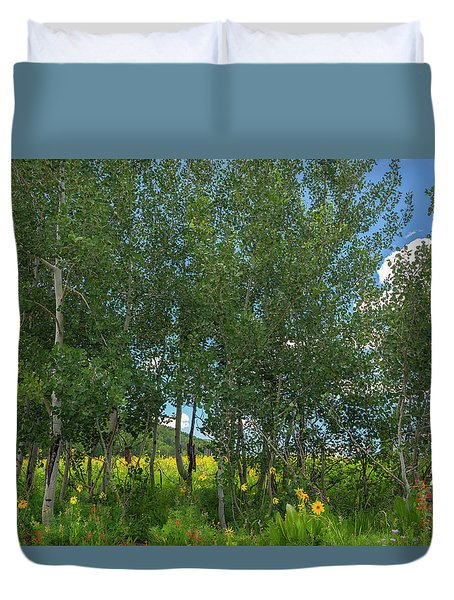 Duvet Cover featuring the photograph Summer Wildflowers by Tim Reaves