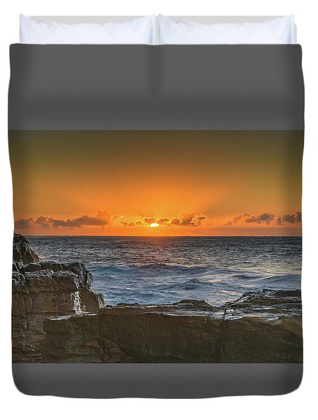 Sun Rising Over The Sea Duvet Cover