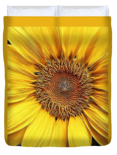 Sunflower Field At Sunrise Duvet Cover