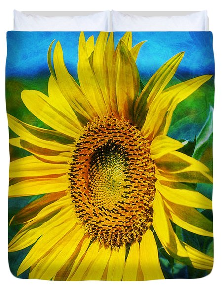 Duvet Cover featuring the digital art Sunflower by Ian Mitchell