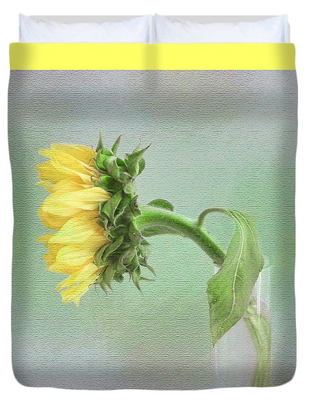 Sunflower In Profile Duvet Cover by Louise Kumpf