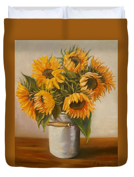 Duvet Cover featuring the painting Sunflowers by Nina Mitkova