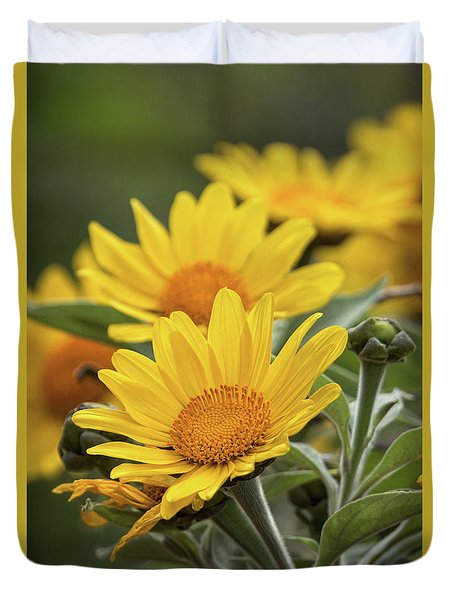 Duvet Cover featuring the photograph Sunflowers  by Saija Lehtonen