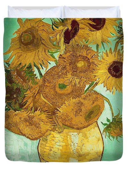 Sunflowers By Van Gogh Duvet Cover