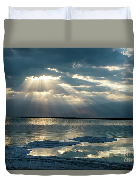 Sunrise At The Dead Sea Duvet Cover