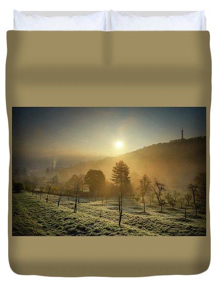 Sunrise From Petrin Yard In Prague, Czech Republic Duvet Cover
