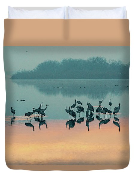 Sunrise Over The Hula Valley Duvet Cover