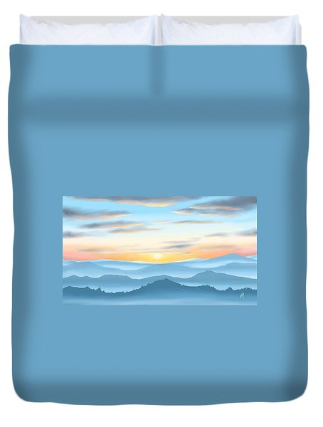 Duvet Cover featuring the painting Sunrise by Veronica Minozzi