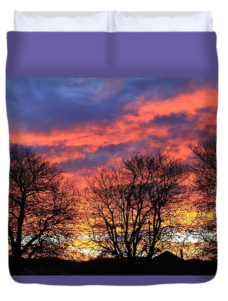 Duvet Cover featuring the photograph Sunset And Filigree by Nareeta Martin