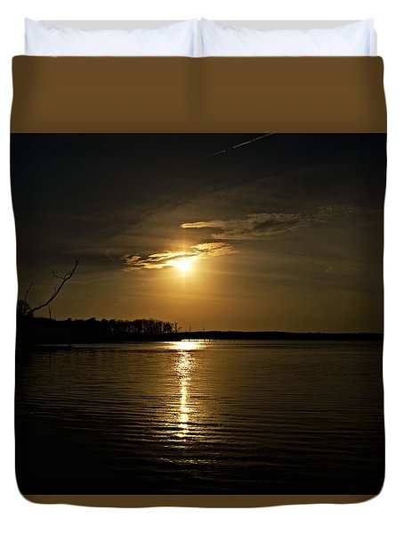 Duvet Cover featuring the photograph Sunset by Angel Cher