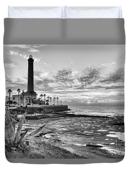 Duvet Cover featuring the photograph Sunset At Chipiona Lighthouse Cadiz Spain by Pablo Avanzini