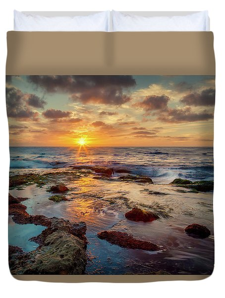Duvet Cover featuring the photograph Sunset At La Jolla  by Rikk Flohr