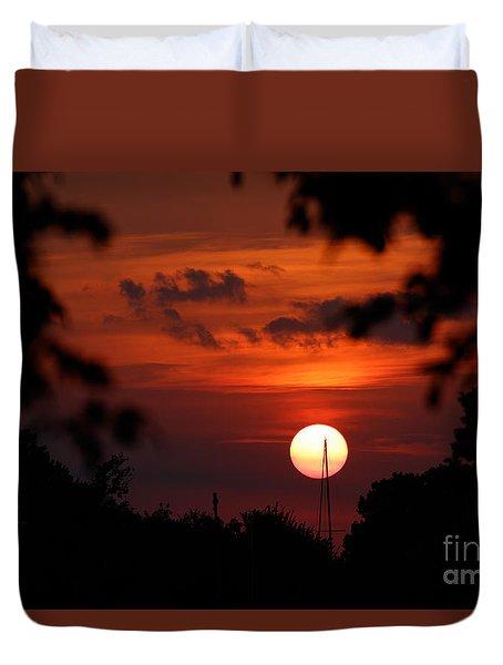 Sunset At Lake Hefner Duvet Cover
