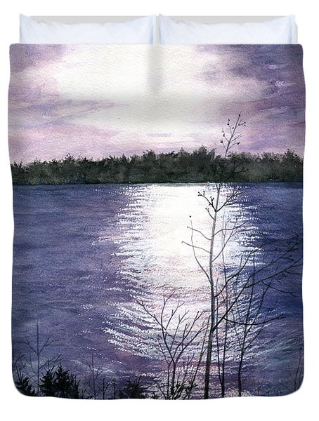 Duvet Cover featuring the painting Sunset At Niagara River New York by Melly Terpening