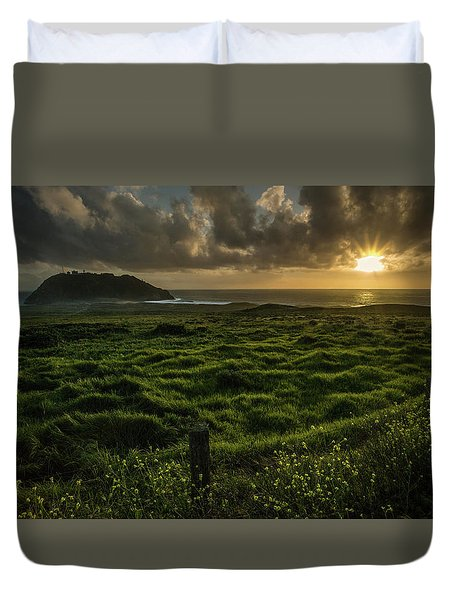 Sunset At Point Sur Duvet Cover