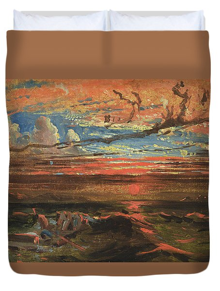 Sunset At Sea After A Storm Duvet Cover