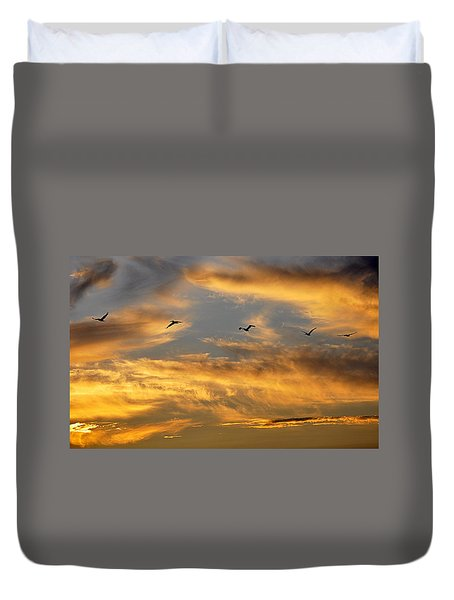 Sunset Flight Duvet Cover by AJ Schibig
