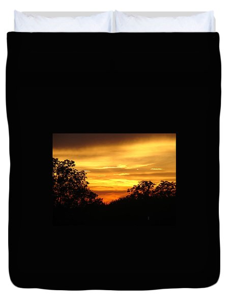 Duvet Cover featuring the photograph Sunset by Heidi Poulin