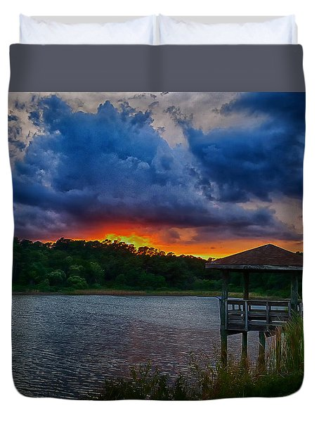 Sunset Huntington Beach State Park Duvet Cover by Bill Barber