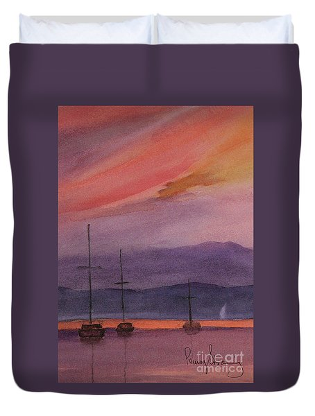 Sunset On Madeline Island Duvet Cover