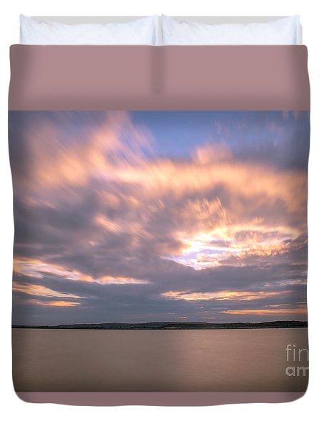 Duvet Cover featuring the photograph Sunset On The Lake by Odon Czintos
