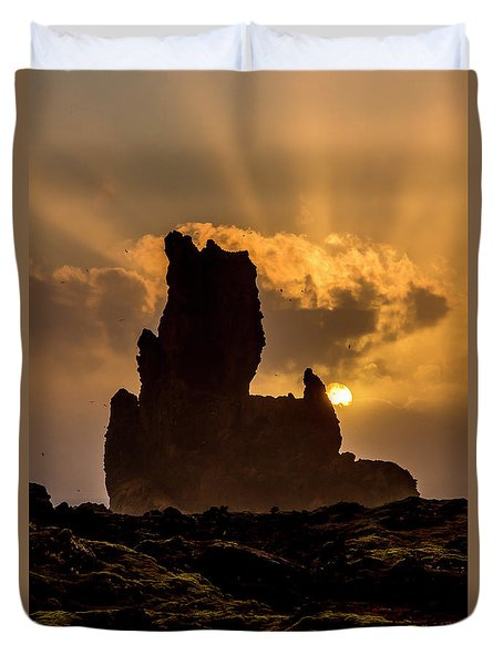 Sunset Over Cliffside Landscape Duvet Cover by Joe Belanger