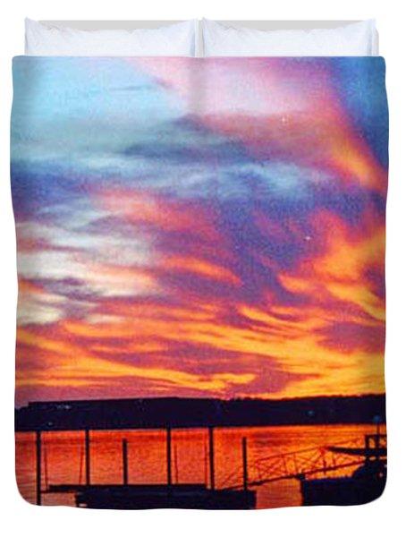 Sunset Over Lake Murray Duvet Cover