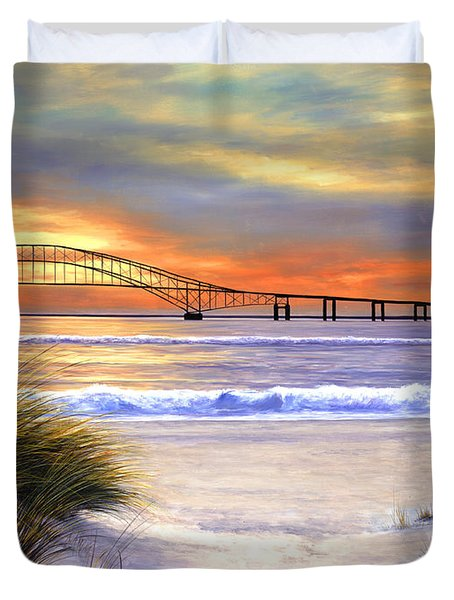 Sunset Over Robert Moses Duvet Cover