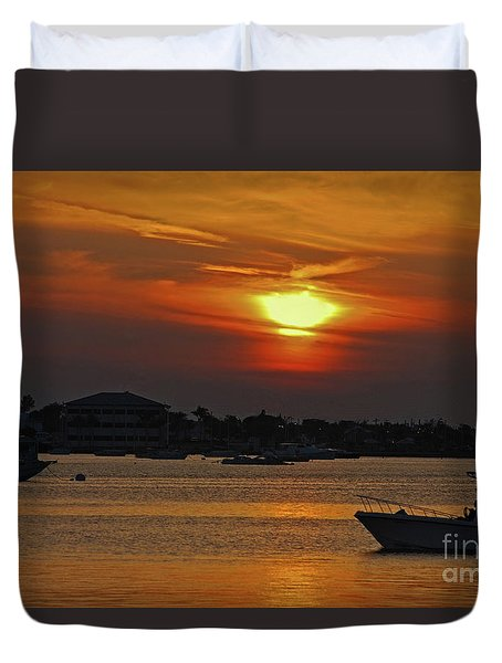 Duvet Cover featuring the photograph 1- Sunset Over The Intracoastal by Joseph Keane