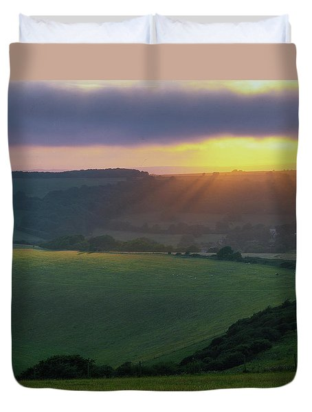 Sunset Over The South Downs Duvet Cover