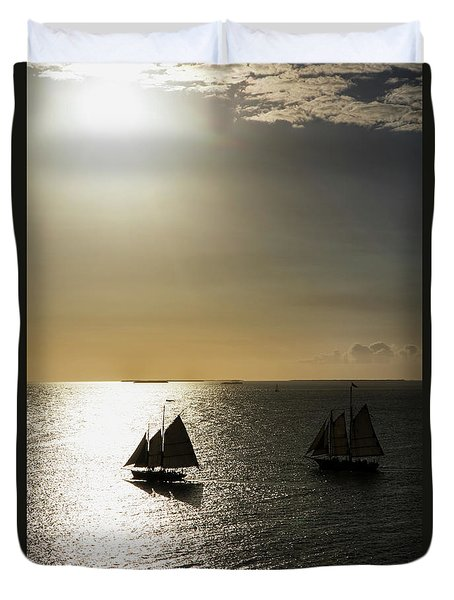 Sunset Schooners Duvet Cover