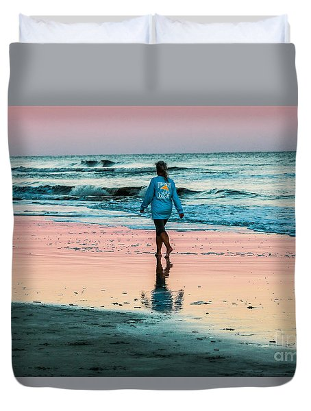 Sunset Stroll In The Surf Hilton Head Duvet Cover