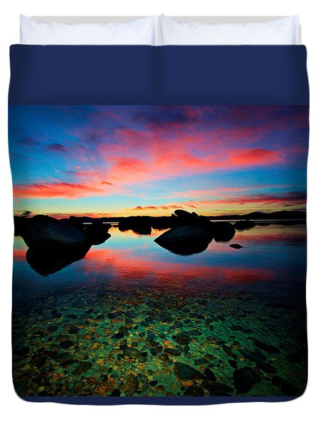 Sunset With A Whale Duvet Cover by Sean Sarsfield