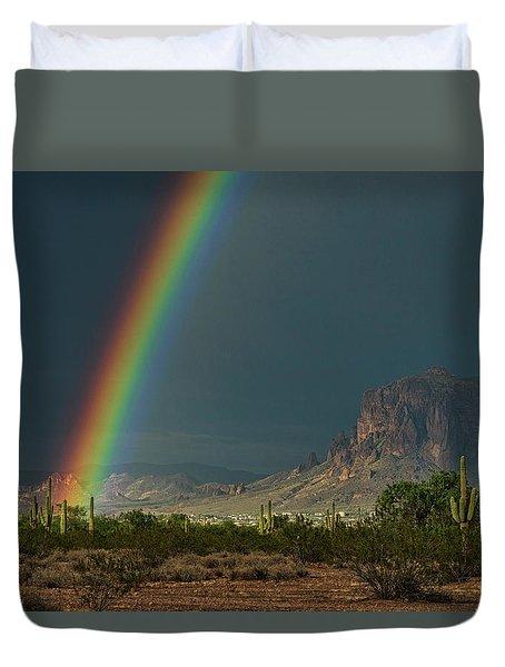 Duvet Cover featuring the photograph Superstition Rainbow  by Saija Lehtonen