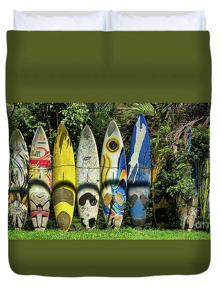 Surfboard Fence Maui Hawaii Duvet Cover