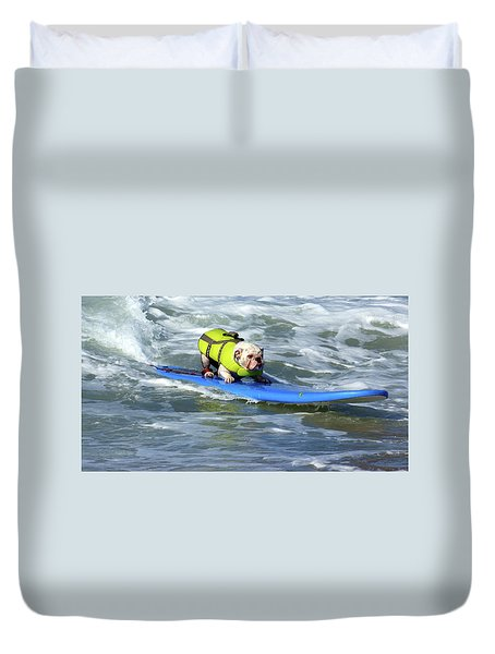 Duvet Cover featuring the photograph Surfing Dog by Thanh Thuy Nguyen